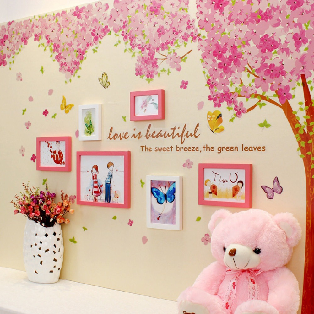 Large Pink Cherry blossoms Tree Butterfly Wall Sticker Vinyl Art Decal Girls Bedroom Living Room Decor Decorative Mural