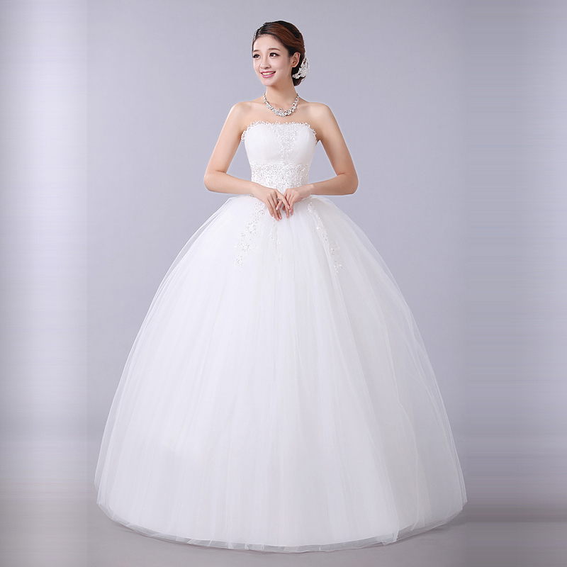 Princess bridal gowns flower tube top wedding dresses formal marry ...