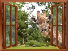 3D Effect Window View Curious Giraffe Sticking its head into window Fake Windows Wall Stickers Removable Wall Decal(China)