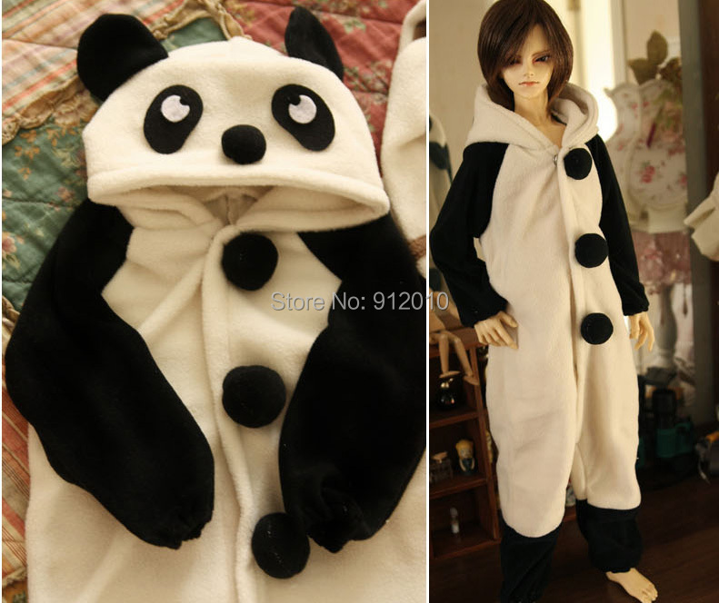 Cute PANDA Pajamas Animal Outfit for BJD 1/6 YOSD 1/4 MSD 1/3 SD10 SD13 SD17 Uncle Doll Clothes ALB4 new handsome fashion stripe black gray coat pants uncle 1 3 1 4 boy sd10 girl bjd doll sd msd clothes