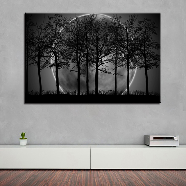 Canvas HD Prints Poster Home Decor Framework 1 Piece Black White Moon Night Psychedelic Forest Paintings