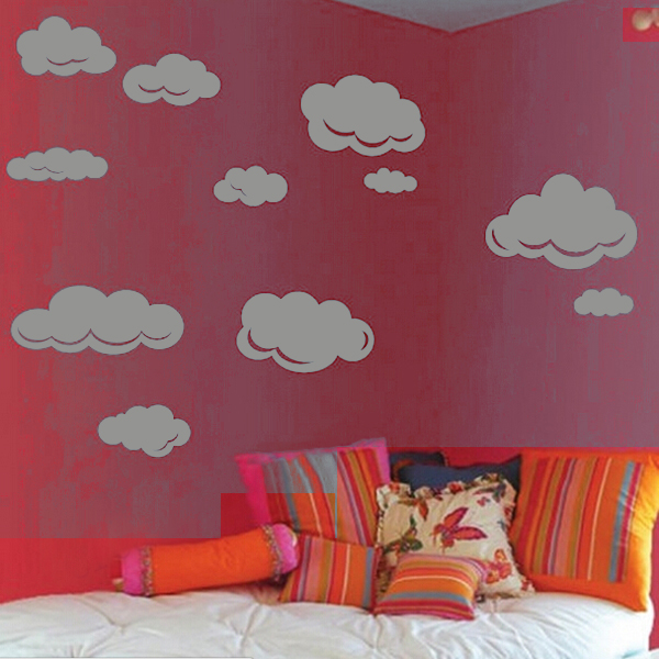 pattern of large clouds pvc waterproof removable wall stickers grey