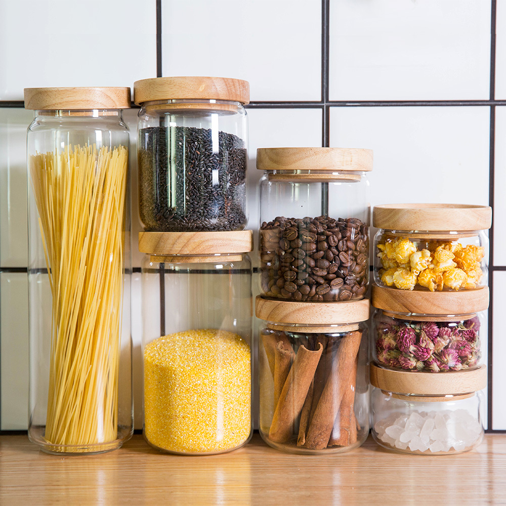 Japan Zakka Style Glass Spice Jar Kitchen Canisters Cookie