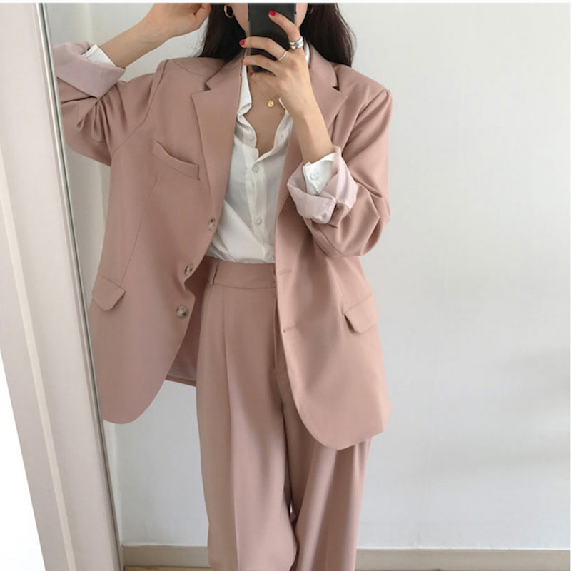 Suits & Sets Systematic Bgteever Casual Solid Women Pant Suits Notched Collar Blazer Jacket & Loose Pant Female Suit 2019 Spring Summer High Quality Bright In Colour Women's Clothing