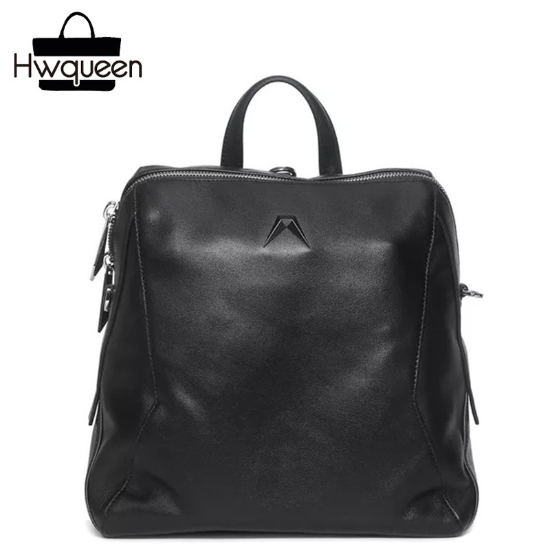 Cool Solid Black Designer Genuine Leather Girls Small Casual Backpack Real Cowhide Women's Travel Backpack Female Soft Backpack