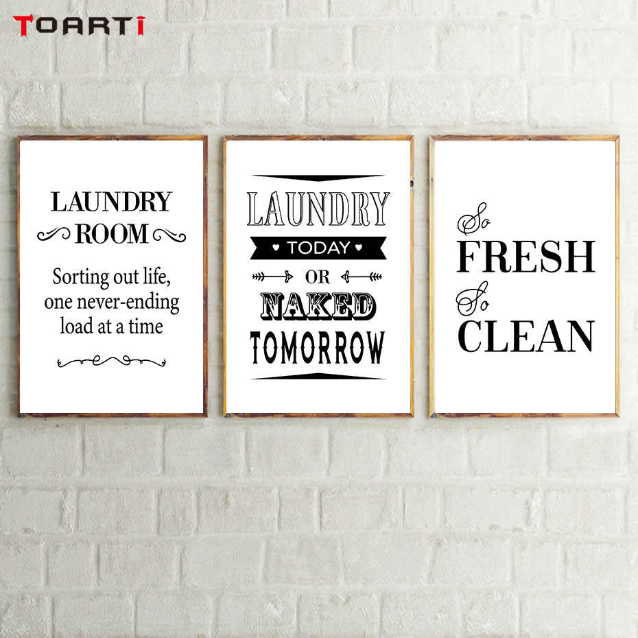 Laundry Room Decorative Posters Prints Modern Clean Quotes Canvas Painting For Bathroom Home Decor Wall Art Pictures Family Gift