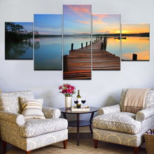 Frame HD Printed Living Room Modular 5 Panel Wooden Bridge Lake Sunset Pictures Wall Art Poster Home Decor Canvas Modern Paintin sunset wooden bridge waterproof wall tapestry