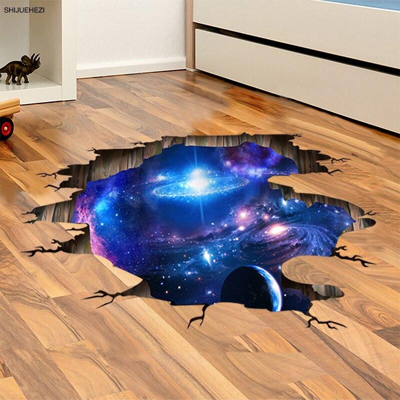[SHIJUEHEZI] Weltraum Planeten 3D Wandaufkleber für Wohnzimmer Schlafzimmer Boden Dekoration Vinyl DIY Wohnkultur Wandtattoos