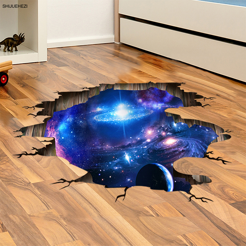 Shijuehezi outer space planets 3d wall stickers for for Outer space decor