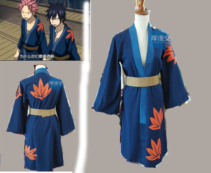 Smart Fairy Tail Natsu/gray Fullbuster /lucy Heartphilia/erza Scarlet Cosplay Costume Printting Blue Kimono Home