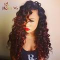 Raw Indian Virgin Hair Ocean Wave Red Indian Curly Virgin Hair Burgundy Ombre Human Hair Weave Cheap Loose Wave 99j 3 Bundles