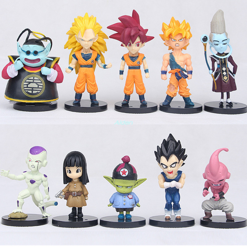 10Pcs/set Dragon Ball 3Generations Son Goku Son Gohan Vegeta Whis Son Goten PVC Action Figure Collectible Model Toy OPP 10CM <font><b>MC4</b></font> image
