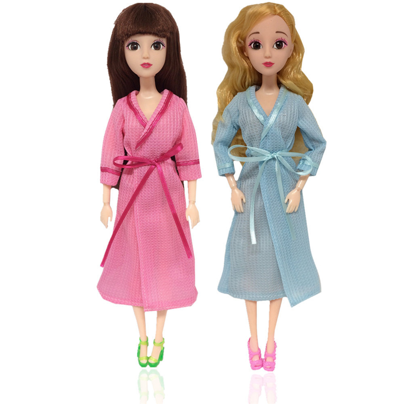 1 Piece Clothes For 30cm Dolls Accessories Bathrobe Daily Dress Pink Blue Clothes Accessories For Dolls Toys For Girls Gift