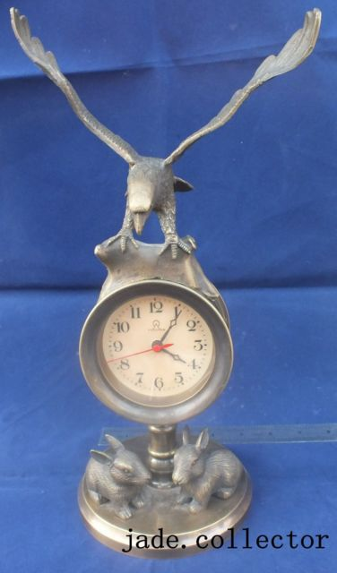 Decorations Rare brass Eagle Mechanical Table Clock