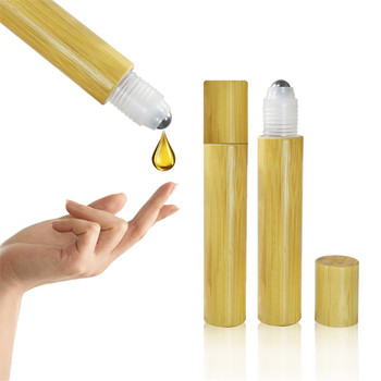 2017  New Stype50pcs *15ml empty bamboo lids roll on glass bottle Essential Oil Use and Bamboo Material 15ml roll on wood bottle