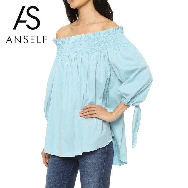a6750dbd5bf Women Ruffle Blouses Plus Size 5XL Off Shoulder Shirt Slash Neck 3 4 Sleeve  Irregular