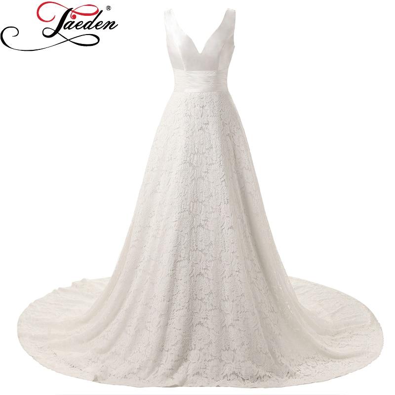 Jaeden simples larga de encaje vestidos de novia sin mangas de marfil blanco sex