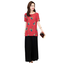 b 2019 new summer women loose cotton short-sleeved t-shirt women's shirt print set plus size S-6XL T-shirt +pants цена