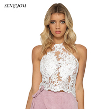 Singyou Fashion women Sexy Vrouwen Zomer Sexy Halter Mesh Patchwork lace joint Tank Vest Crop Tops