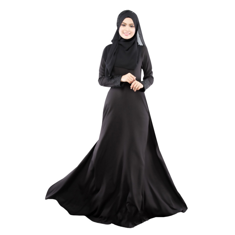 New Kaftan Abaya Dress Muslim Islam Women Jilbab Long Sleeve Maxi Dress Solid Color  PY3 RE3
