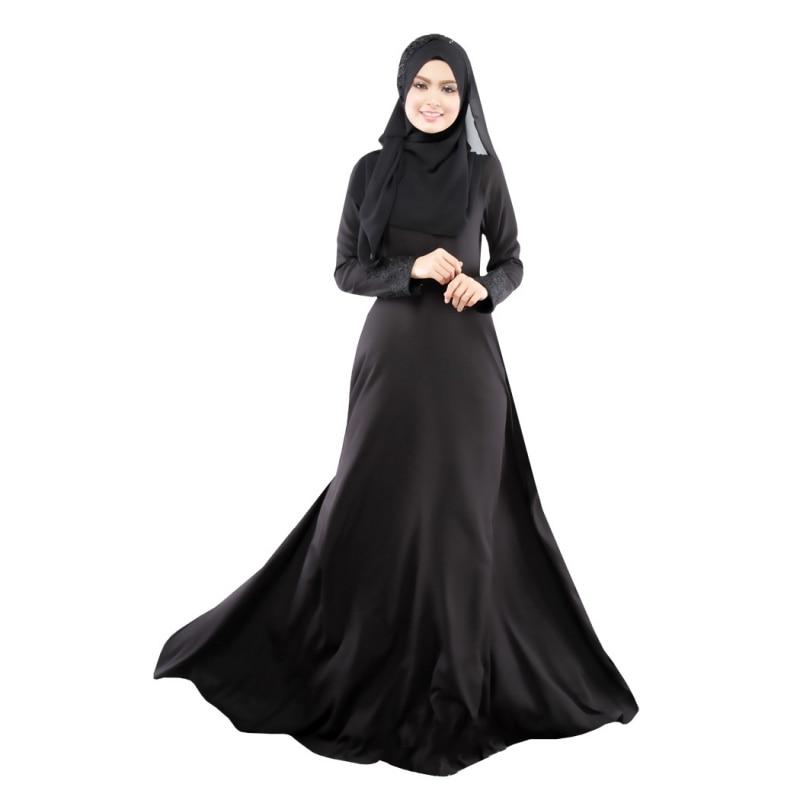 New Kaftan Abaya Dress Muslim Islam Women Jilbab Long Sleeve Maxi Dress Solid Color  PY3 RE3