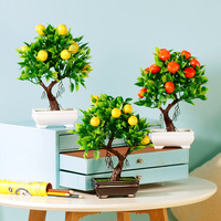 1pc Artificial Emulate Kumquat Potted Bonsai Simulation Decorative Fake Flowers Pot Plants Ornaments Home Art Decoration