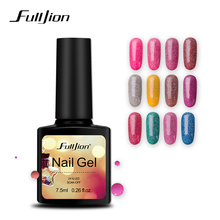 Fulljion Neon Gel Lacca Smalto Soak-off UV LED Glitter Lucido Gel Ibrido Vernici Nail Art Primer Colla Manicure 12 Colori