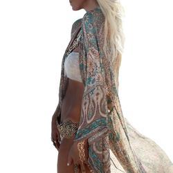 58bb3ba62a5 Винтаж Пляж Cover Up Женщины Шифон Кардиган Цветочный Принт Свободные  Верхняя Одежда Пляжная Бикини Cover Up