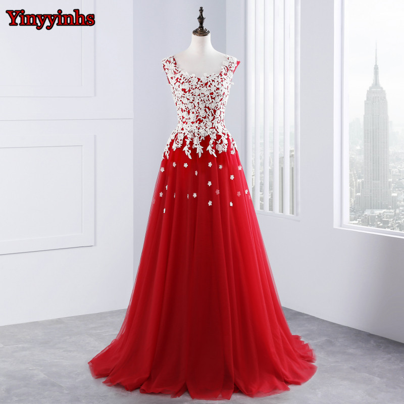 Red Lace Appliques Long Evening Dresses Vestido De Festa A Line Tulle Backless Beaded Formal Evening