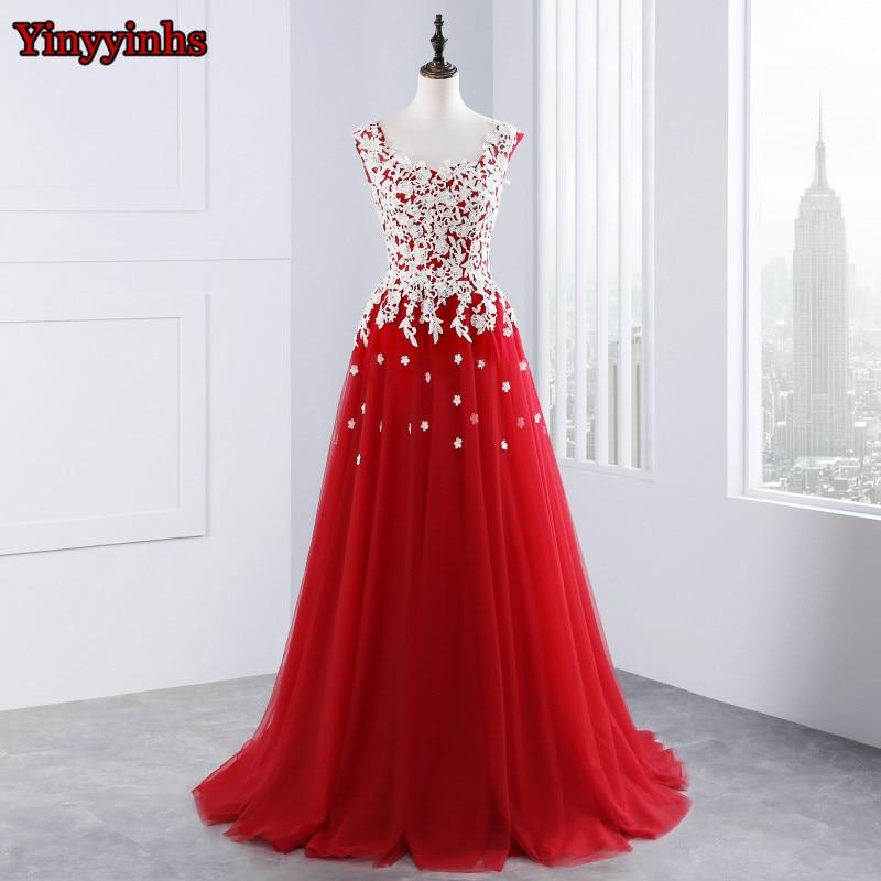 Црвена чипка Аппликуес дуге вечерње хаљине Вестидо Де Феста линија тила бацклесс беадед формална вечер хаљина ЦГ19