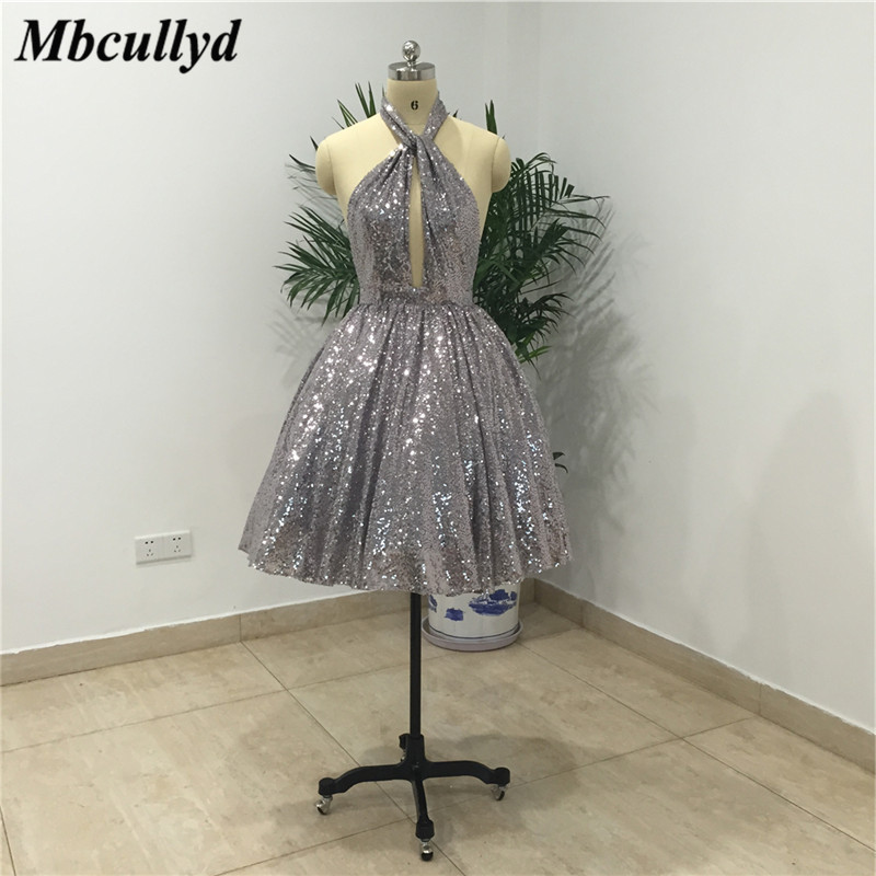 Mbcullyd   Bridesmaid     Dresses   For Women 2019 Sexy Backless Short Prom   Dress   Party Gown Sliver Sequins Cheap Vestidos de fiesta