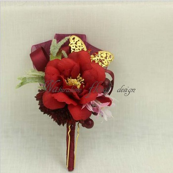 2018 Fashion Bride Corsage Flowers Ball DIY Wrist Flower Bridesmaid Hand Wrist Flowers Roses Floral Bridal Wrist Red Rose