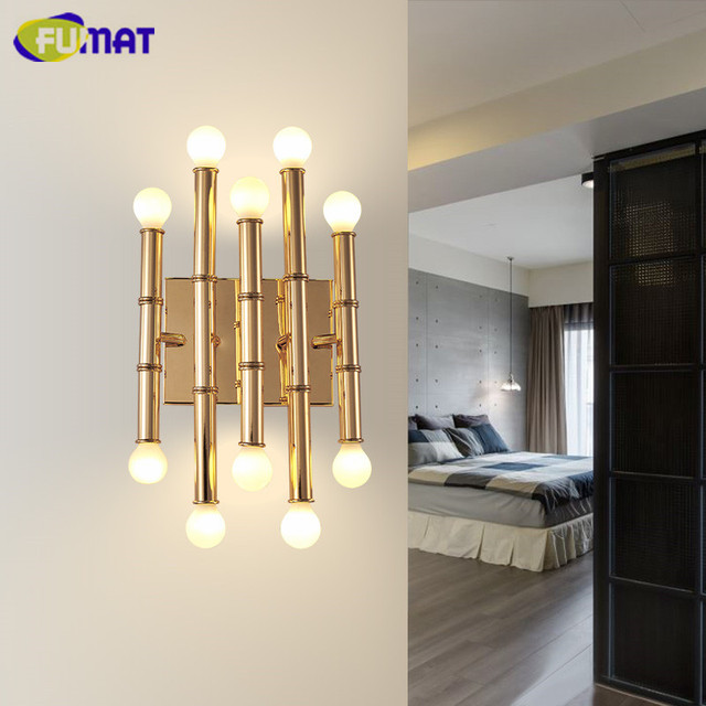 FUMAT Bamboo Shape Pipe Wall Lamps Modern Hotel Decor Wall Sconce ...