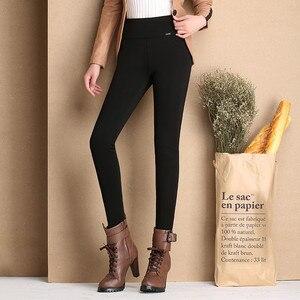 Image 3 - Pantalon épais en velours pour femmes, chaud, extensible, taille haute, Pantalon de bureau, polaire, hiver 2016