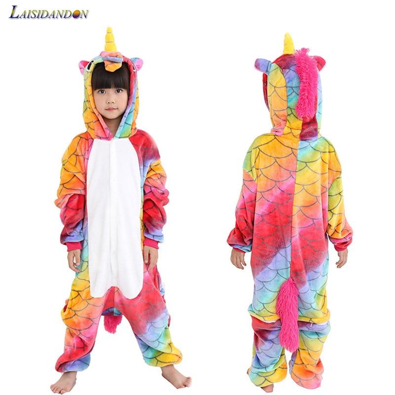 Fish Scales Kigurumi Unicorn Pajamas Children Women Cartoon Anime Onesie Kids Sleepwear Boys Girls pijama de unicornio Infant