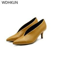 WDHKUN 2019 Pop Star Pointed Toe Girl Thin Heel Woman Shoes Deep V Design Lady Fashion Shoes Elegant European Women Shoes