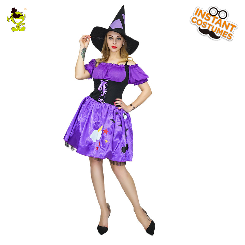 Gorgeous Purple Witch Costumes Women Masquerade Party Cute Sorceress ...