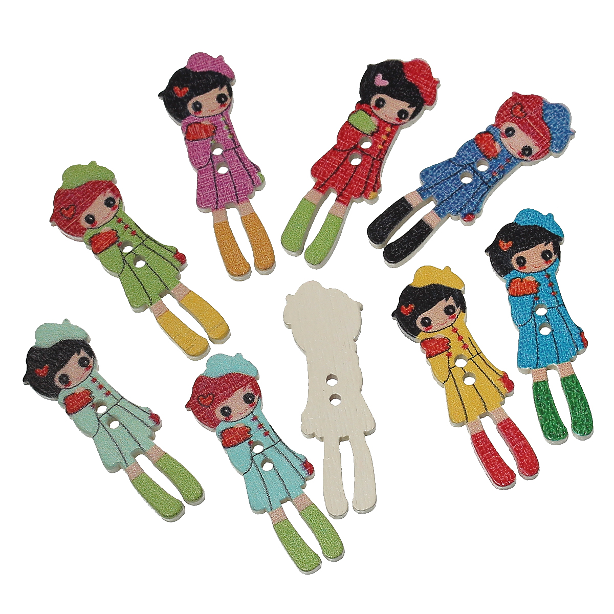 Wood Sewing Button Scrapbooking Girl At Random Two Holes 3.5cm(1 3/8″)x 12mm(4/8″),9 PCs 2015 new