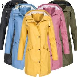 Plus rozmiar 5XL damska solidna kurtka przeciwdeszczowa z kapturem na zewnątrz wodoodporny długi płaszcz kobiety płaszcze przeciwdeszczowe długie piesze wycieczki kurtki z kapturem 2019 1