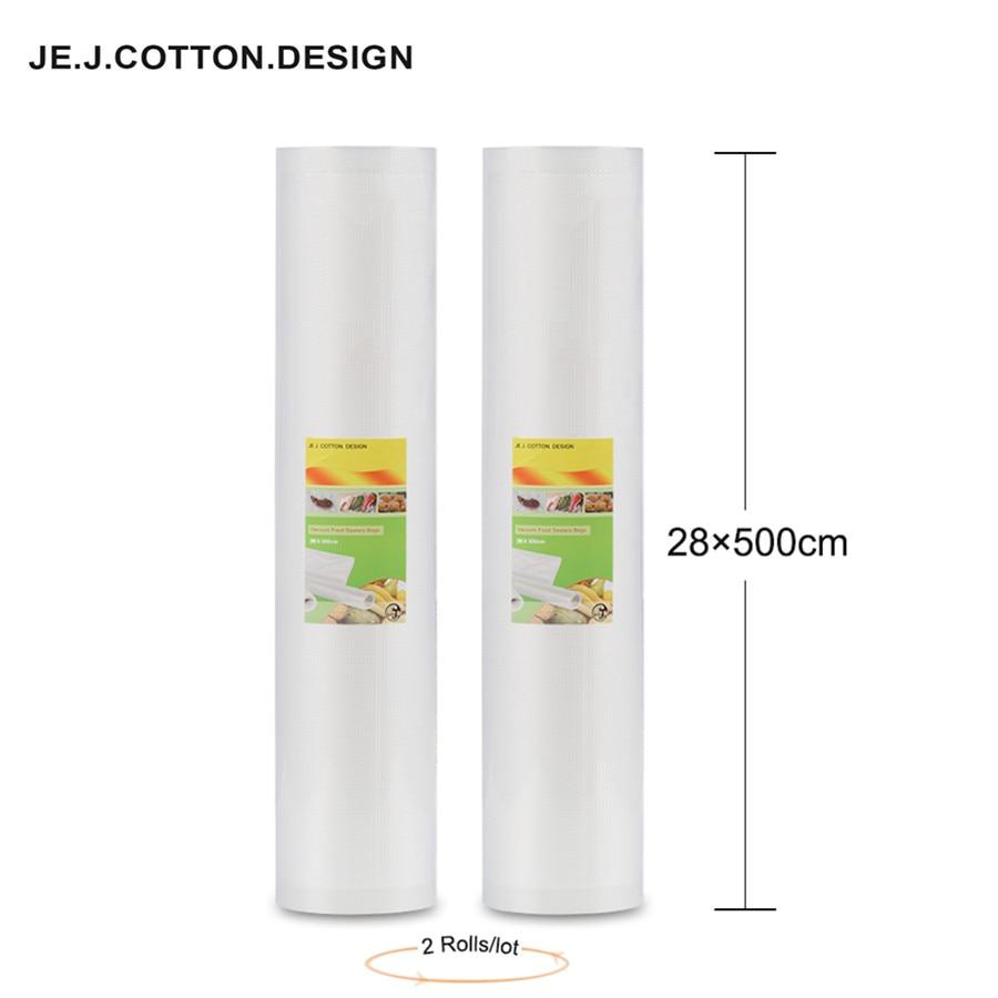 2 գլան 28 * 500 CM վակուումային պայուսակներ սննդի պահպանման համար փաթաթված ֆիլմի վակուումային փաթեթավորմամբ սննդի պայուսակներ Գովազդներ 28 * 500 սմ փաթեթավորման մեքենայի համար