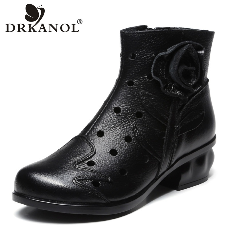 DRKANOL Hollow Out Genuine Leather Women Boots Thick High Heels Casual Shoes Round Toe Ankle Boots