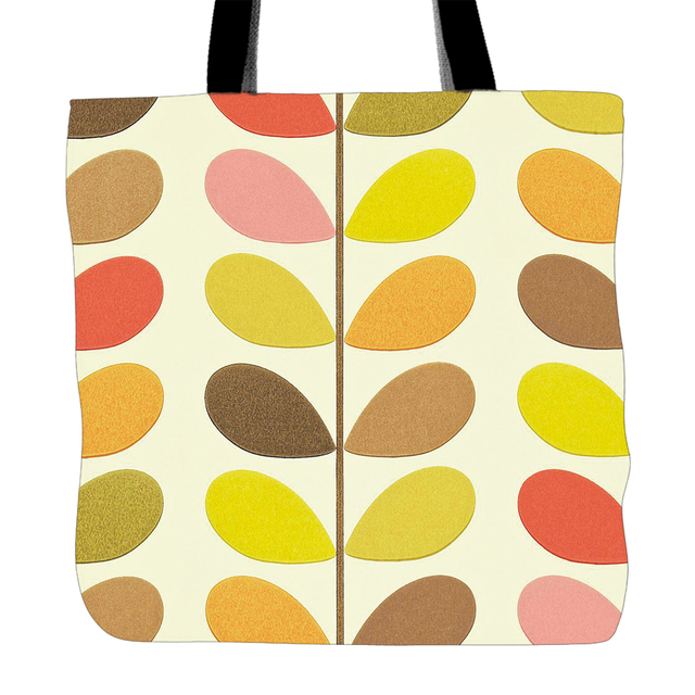 2bb264f7321c Colorful Leaves Printing Tote Bag For Shopping Food Convenience Women White  Canvas Hand Bags Two Sided Printed