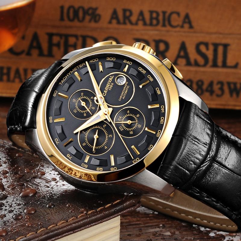 Carnival Mechanical Watch Men Multifunctional Sapphire Double calendar Water Resistant Leather Strap Men