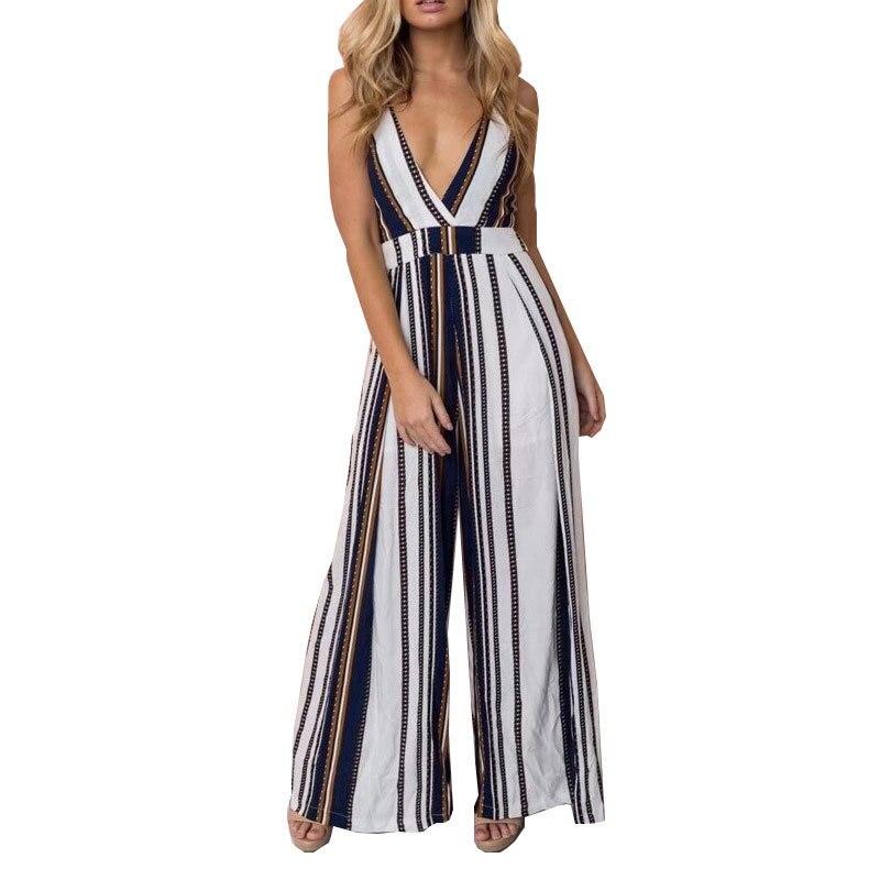 YANQIN 2018 Ladies New Fashion Loose Pants Woman Sexy Bow Stripeds Chiffon Jumpsuit