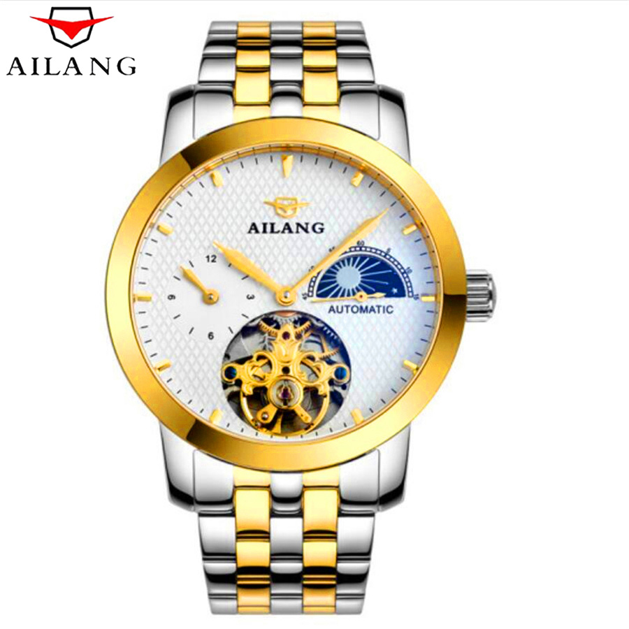 AILANG Waterproof Tourbillon Mechanical Watches Moon Phase Luxury Sapphire Crystal Automatic Watch Men Full Steel Relogio 2018 ik colouring men automatic self wind mechanical watches full steel moon phase fashion casual digital sports watch