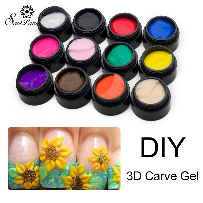 Saviland 1pcs 3D Glitter 12 Colorful Carved Glue UV Gel Miniature Sculpture Nail Art Modelling Painting Decor