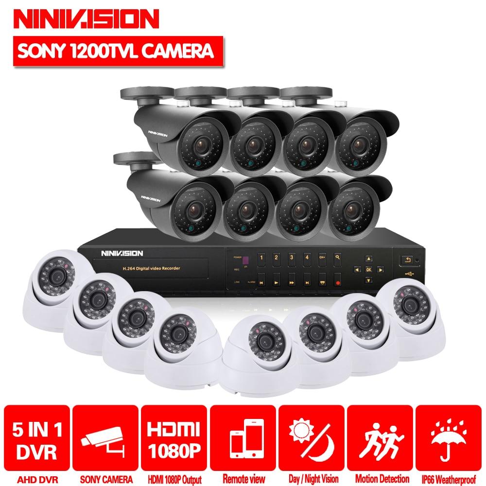 NINIVISION 16 canaux sécurité 1200TVL vidéo surveillance extérieure caméra intérieure kit 16ch AHD CCTV DVR HDMI 1080 p système DE VIDÉOSURVEILLANCE