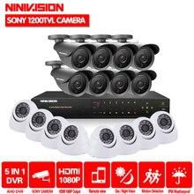 NINIVISION 16-канальный безопасности 1200TVL системах видеонаблюдения Крытый комплект камеры 16ch AHD CCTV DVR HDMI 1080 P системы видеонаблюдения