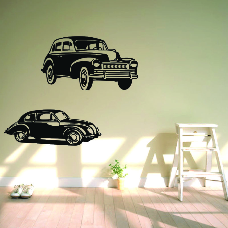 Vw Car Wall Sticker Kids Room Large size Retro Beatle Car ...