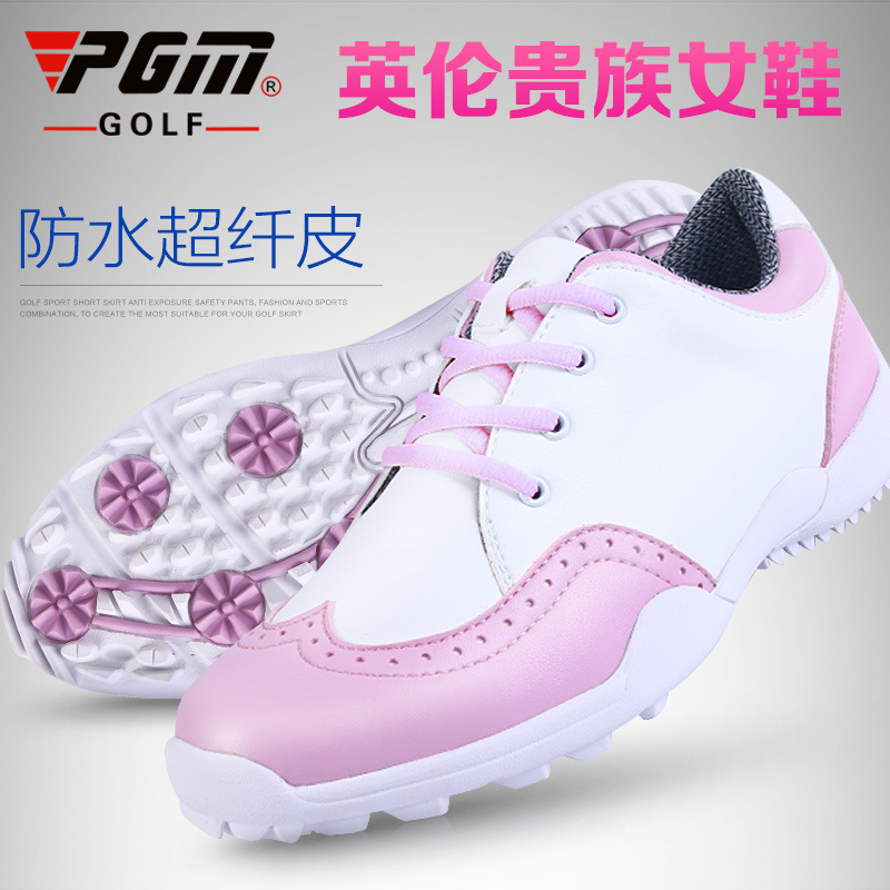 New PGM golf shoes ladies British style imported microfiber leather waterproof sports sneakers freeshipping mens women golf shoes genuine leather shoes british style waterproof breathable free shipping